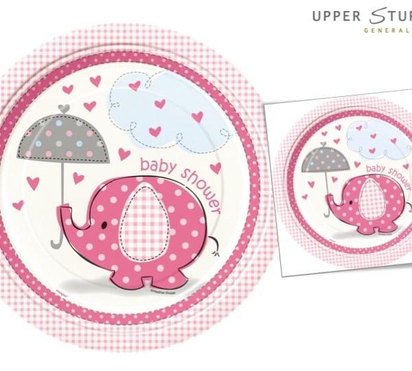 Umbrellaphants Pink Baby Shower Dinner Plates