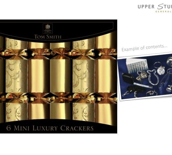 gold mini luxury christmas crackers
