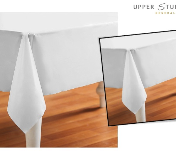 White Plastic Tablecover - 1 Piece