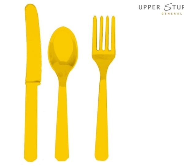 Yellow Sunshine Forks, Knives and Spoons (8 each) – 24 Pack