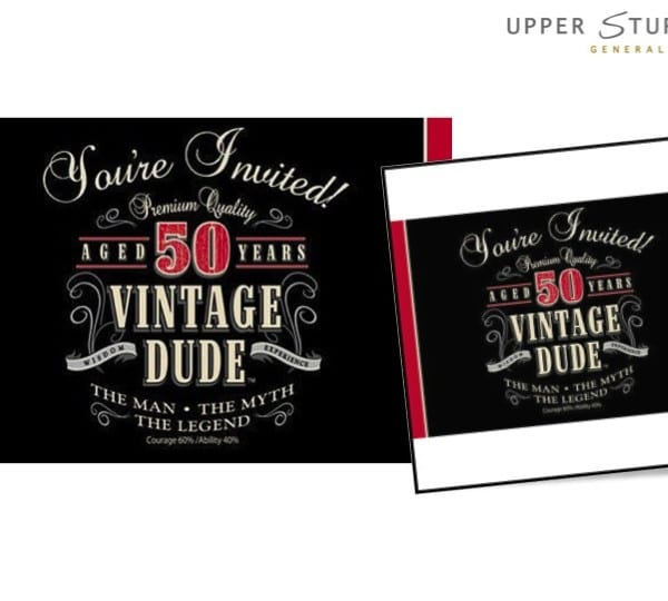 Vintage Dude 50th Birthday Invitations