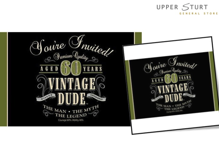vintage dude 60th birthday invitations 8 pack upper sturt