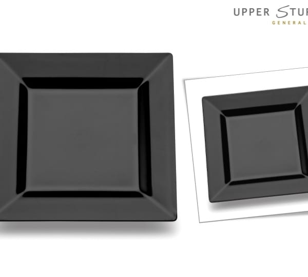 Black Square Premium Plastic Dessert Plates