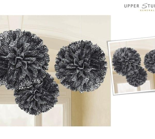 Black Scroll Fluffy Decorations