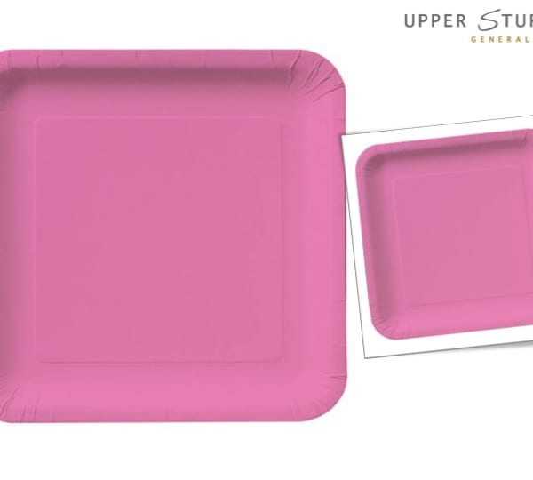 Candy Pink Square Luncheon Plates Paper