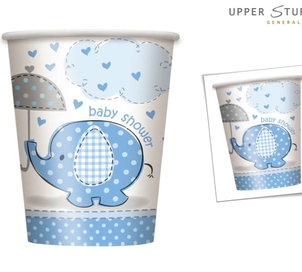 Umbrellaphants Blue Baby Shower 9 oz. Cups