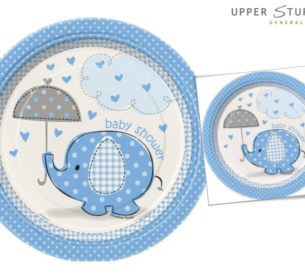 Umbrellaphants Blue Baby Shower Dessert Plates