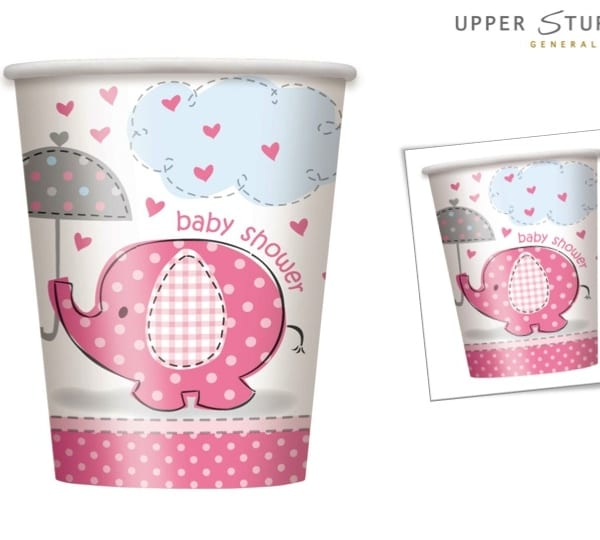 Umbrellaphants Pink Baby Shower 9 oz. Cups