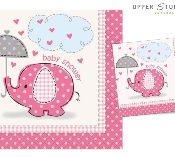 Umbrellaphants Pink Baby Shower Beverage Napkins