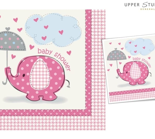 Umbrellaphants Pink Baby Shower Lunch Napkins