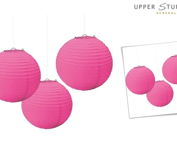 Round Paper Lanterns Pink