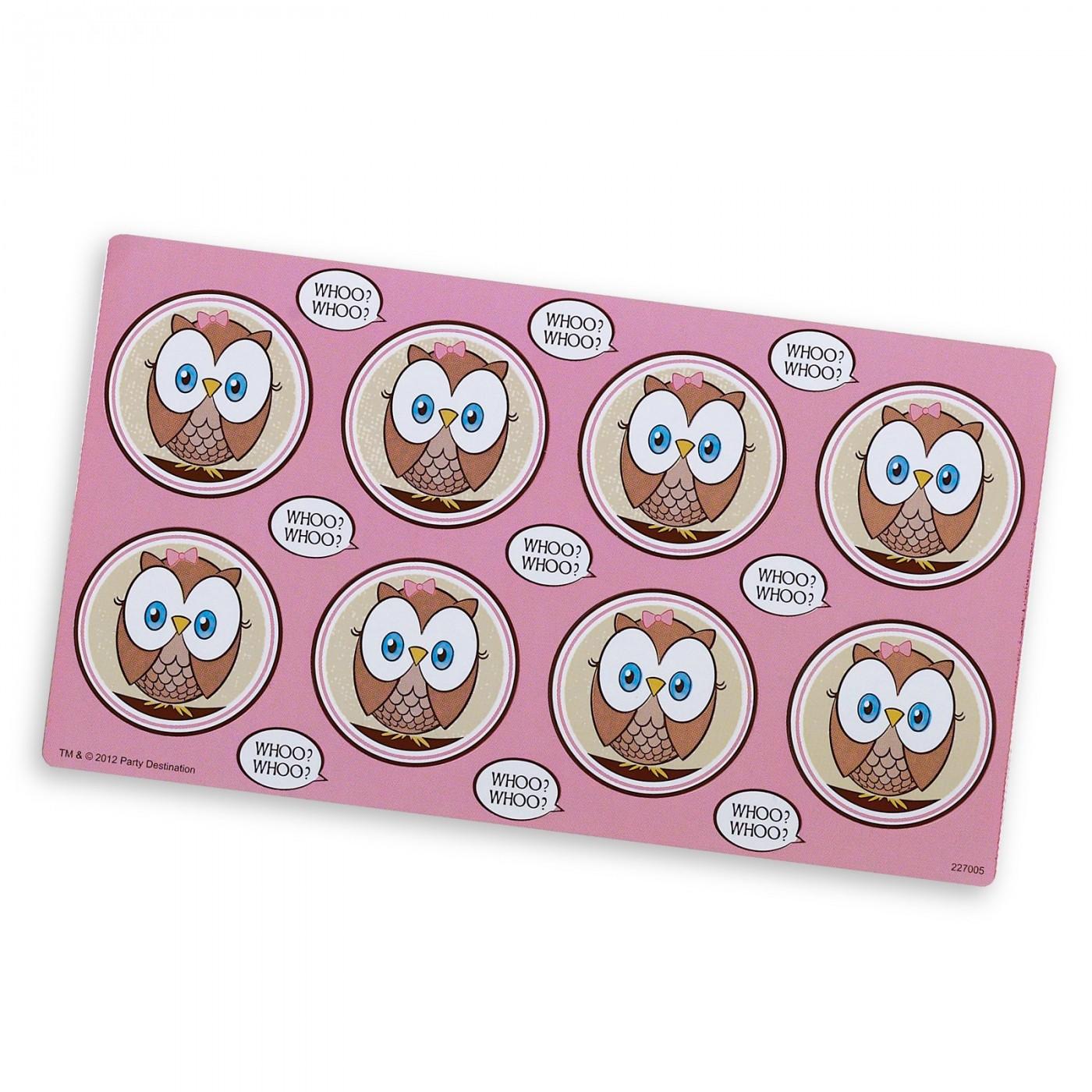 Pink Owl Small Lollipop Sticker Sheet